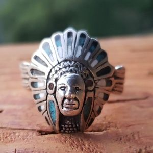 Vintage Native American Turquoise Ring Sz 9.5